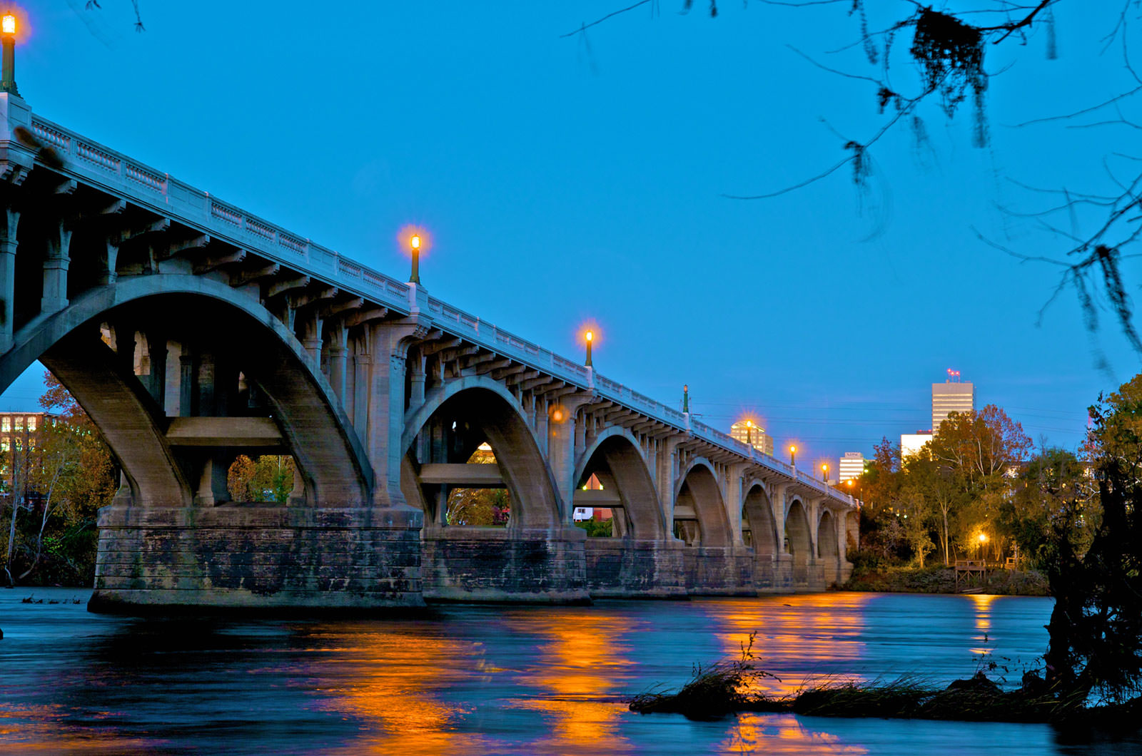 Dusk on the Gervais St Bridge in Economically Diverse Richland County, SC